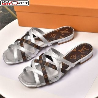 Louis Vuitton Revival Strap Flat Slide Sandals Silver