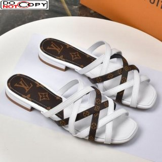 Louis Vuitton Revival Strap Flat Slide Sandals White