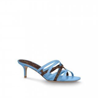 Louis Vuitton Revival Strap Heel Slide Sandals 6.5cm Blue