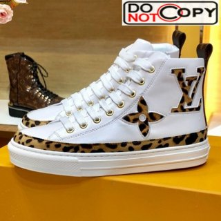 Louis Vuitton Stellar Leopard Print Monogram Flower High top Sneakers White 1A5NP8