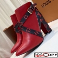 Louis Vuitton Strap Calfskin Ankle Boot Red