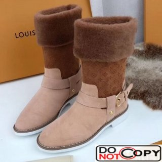 Louis Vuitton Suede Shearling Boot Brown