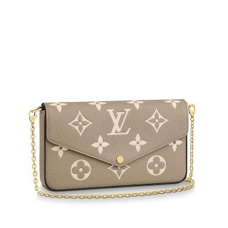 Louis Vuitton Felicie Pochette Clutch with Chain/Mini Bag in Monogram Leather M69977 Gray