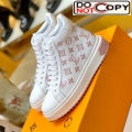 Louis Vuitton Time Out High-top Sneakers in Monogram Embroidered Calfskin White/Pink