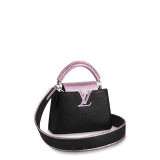 Louis Vuitton Capucines Mini with Shiny Snakeskin Charm N97962 Black/Pink