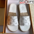 Louis Vuitton Monogram Embroidered Flat Espadrilles Slide Sandals White/Silver (For Women and Men)