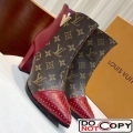 Louis Vuitton Monogram Canvas Studded Leather Ankle Boot Red