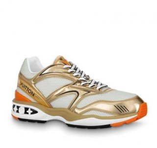 Louis Vuitton LV Trail Sneakers in Metallic Leather and Mesh 1A7WK3 Gold/White (For Women and Men)