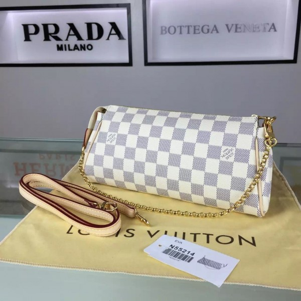Louis Vuitton Eva Clutch Bag Damier Azur N55214