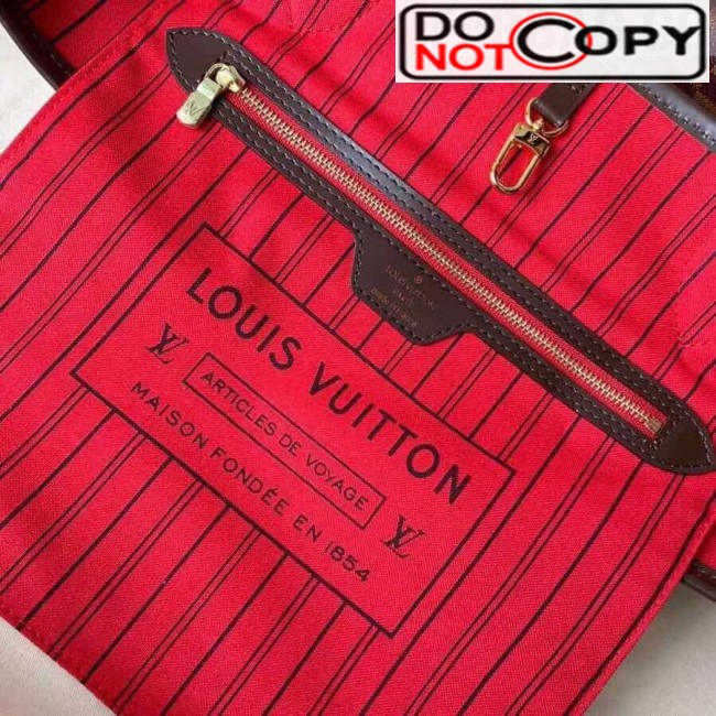 Louis Vuitton Neverfull MM Damier Ebene Canvas Tote Bag N41358 Red