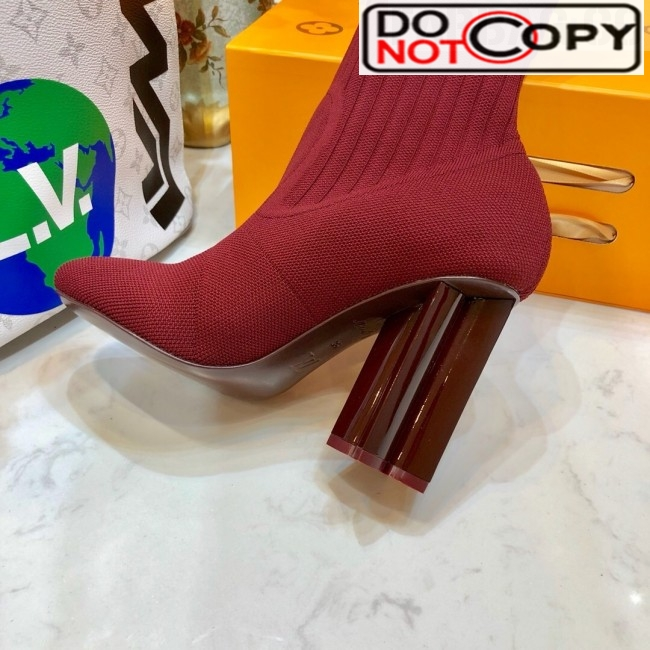 Louis Vuitton Silhouette Rainbow Signature Stretch High Heel Ankle Short Boot Burgundy