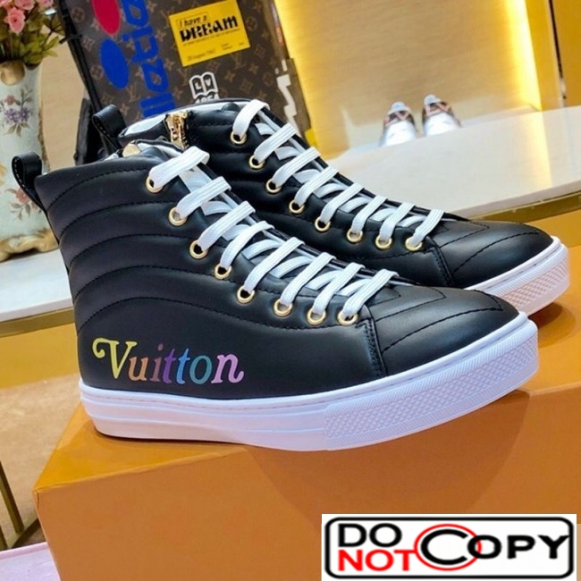 Louis Vuitton New Wave Stellar High top Flat Sneaker Boots 1A5C5Y Black